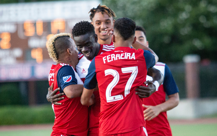 FC Dallas celebrates one of their goals against Oklahoma City Energy FC in the Fourth Round of the 2019 US Open Cup. Photo: FC Dallas