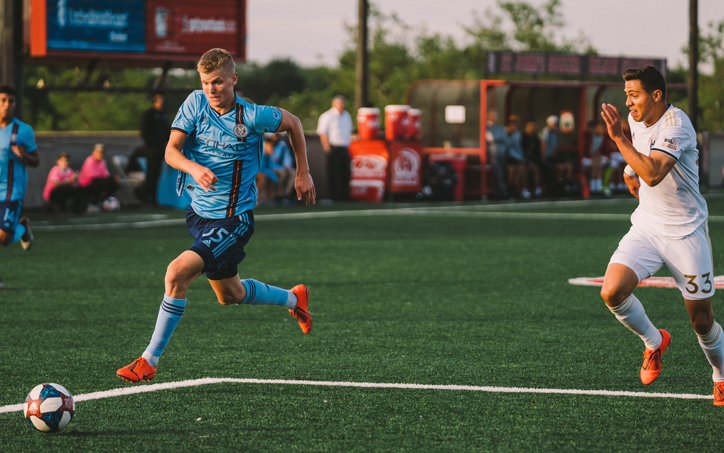 Keaton Parks of NYCFC scored a pair of goals in the club's 4-0 win over North Carolina FC in the Fourth Round of the 2019 US Open Cup. Photo: Sebastian Ramirez