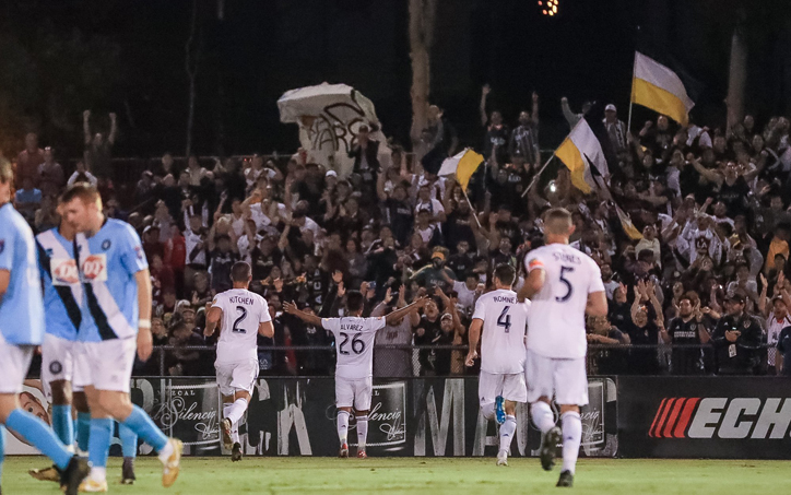 Efrain Alvarez of the LA Galaxy celebrates one of his two goals against Orange County FC in the Fourth Round of the 2019 US Open Cup. Photo: LA Galaxy