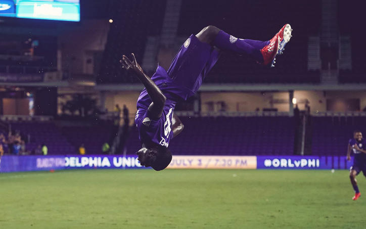 Benji Michel of Orlando City celebrates after scoring a goal against the New England Revolution in a Round of 16 match in the 2019 US Open Cup. Photo: Orlando City SC