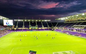 Orlando City and the New England Revolution square off in a Round of 16 match in the 2019 US Open Cup at the newly-renamed Exploria Stadium in Orlando. Photo: Neil Blackmon