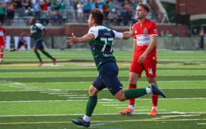 Austin Martz of Saint Louis FC celebrates his goal against the Chicago Fire in the Fourth Round of the 2019 US Open Cup. Photo: Saint Louis FC