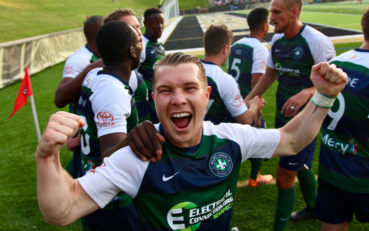 Lewis Hilton celebrates with his Saint Louis FC teammates in a 2019 US Open Cup Fourth Round match against the Chicago Fire. Photo: Saint Louis FC