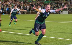 Sam Fink of Saint Louis FC celebrates his goal against FC Cincinnati in a Round of 16 match in the 2019 US Open Cup. Photo: Saint Louis FC