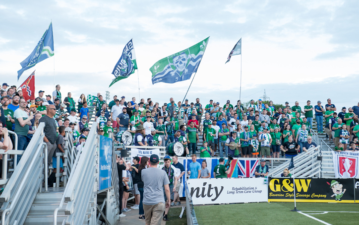 Saint Louis FC fans came out to support their team against FC Cincinnati in the Round of 16 match of the 2019 US Open Cup. Photo: Will Bramlett