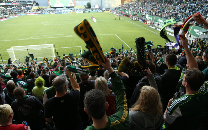 Members of the Timbers Army cheer on their team, the Portland Timbers and the LA Galaxy. Photo: Portland Timbers