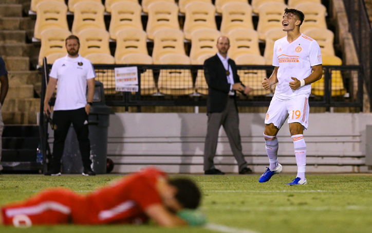 Brandon Vasquez of Atlanta United celebrates against the Charleston Battery in the Fourth Round of the 2019 US Open Cup. Photo: Atlanta United