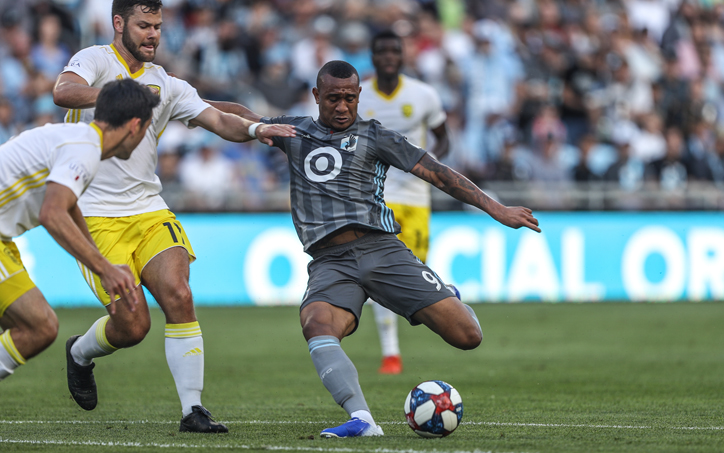 Angelo Rodriguez of Minnesota United FC attempts a shot against New Mexico United in the Quarterfinals of the 2019 US Open Cup. Photo: Minnesota United FC