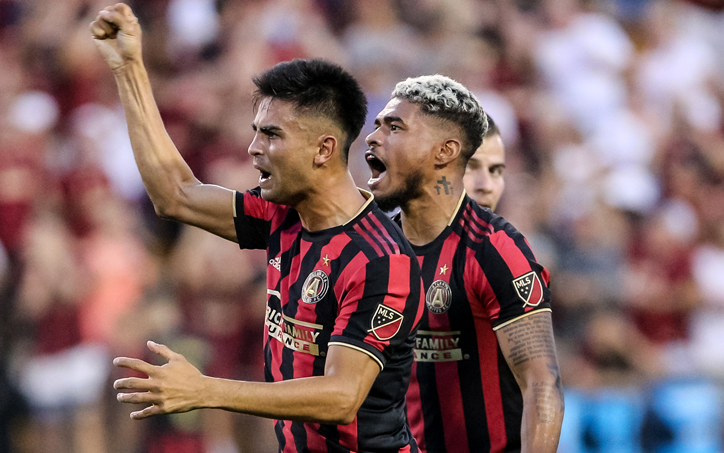 Players from Atlanta United celebrate a goal against Saint Louis FC in the Quarterfinals of the 2019 US Open Cup. Photo: Karl L. Moore | Atlanta United