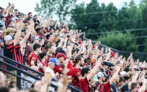 Atlanta United fans cheer on their team against Saint Louis FC in the Quarterfinals of the 2019 US Open Cup. Photo: Karl L. Moore | Atlanta United