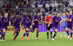 Players from Orlando City SC celebrate after a 5-4 PK win over NYCFC in the 2019 US Open Cup Quarterfinals. Photo: Orlando City SC