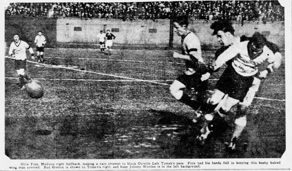 Madison Kennels and Sparta A&BA battle in the 1929 National Challenge Cup Semifinals. Newspaper archive: St. Louis Post Dispatch
