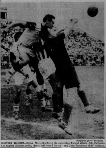 A scene from the 1958 National Open Cup Final between the Los Angeles Kickers and Pompei SC of Baltimore. Newspaper archive: Baltimore Sun