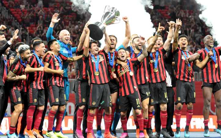 Atlanta United FC celebrates their 2019 Lamar Hunt US Open Cup championship. Photo: Allison Andrews