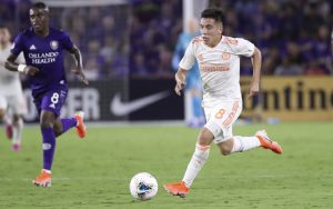 Ezequiel Barco of Atlanta United dribbles the ball against Orlando City in a 2019 US Open Cup Semifinal match. Photo: Atlanta United FC