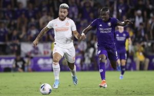 Hector Villalba (left) of Atlanta United battles for the ball against Orlando City in the 2019 US Open Cup Semifinals. Photo: Atlanta United FC