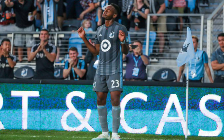 Mason Toye of Minnesota United celebrates his goal against the Portland Timbers in the 2019 US Open Cup Semifinals. Photo: Minnesota United