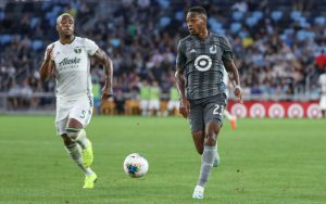 Mason Toye of Minnesota United dribbles the ball just before scoring his goal against the Portland Timbers in the 2019 US Open Cup Semifinals. Photo: Minnesota United