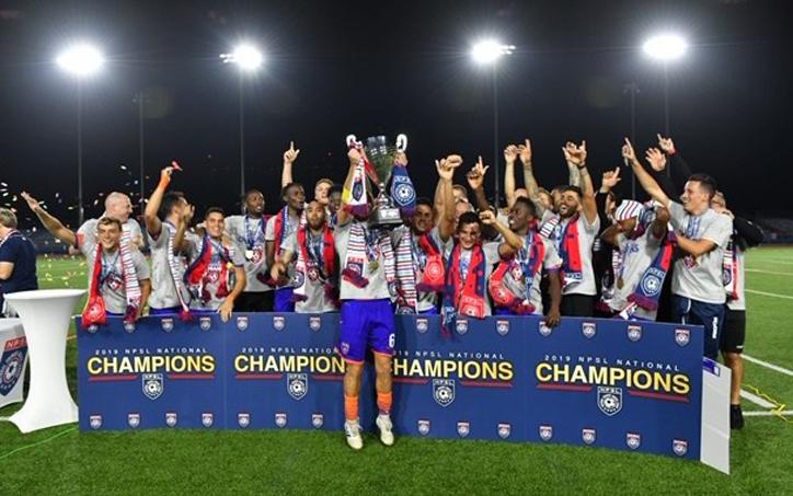 Miami FC celebrate their 2019 NPSL championship. Photo: NPSL