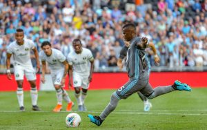 Darwin Quintero of Minnesota United scores a penalty kick in the 22nd minute against the Portland Timbers in the 2019 US Open Cup Semifinals. Photo: Minnesota United FC