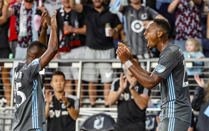 Mason Toye (right) of Minnesota United celebrates his goal with teammate Darwin Quintero in the club's 2019 US Open Cup Semifinal match against the Portland Timbers. Photo: Minnesota United FC