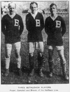 Bethlehem Steel players (from left to right) Fred Pepper, James Campbell and Brown. Photo: Fall River Daily Evening News - April 18, 1919