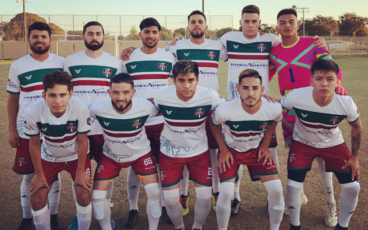 Oxnard Guerreros FC pose for a team photo before their 2020 US Open Cup qualifying match against Santa Monica United FC. Photo: Oxnard Guerreros FC