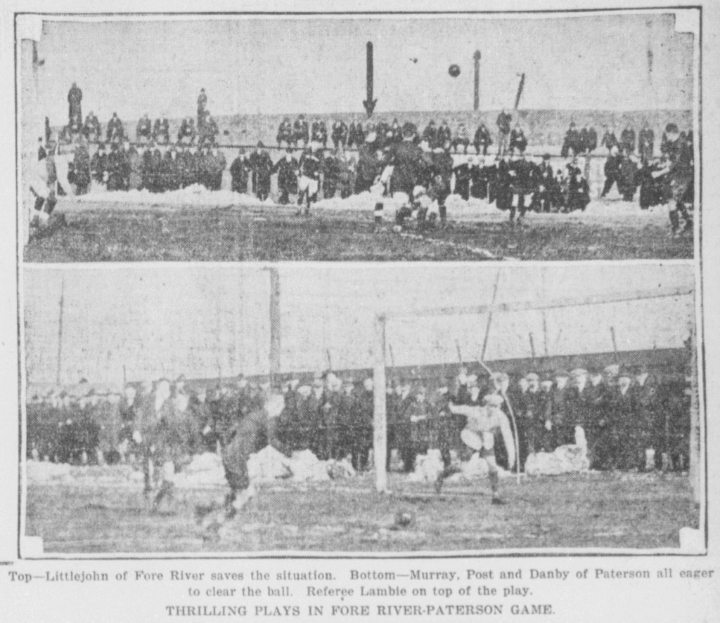 Scenes from the first game between Fore River and Paterson in the 1918/1919 National Challenge Cup Quarterfinals. Photo: Boston Globe
