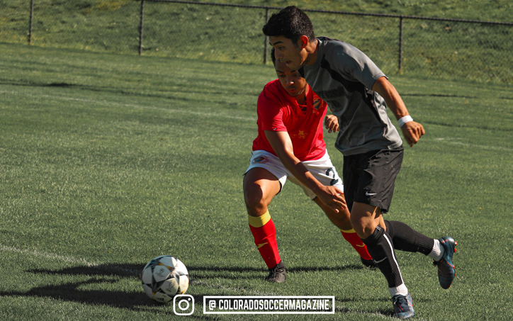 Players from Azteca FC and Athletic Club of Sloan's Lake (red) battle for the ball in their 2020 US Open Cup qualifying match. Photo: Colorado Soccer Magazine