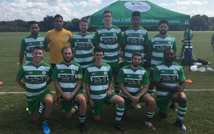 Celtic Cowboys Premier pose for a team photo before their match in the Open Division Local qualifying tournament for the 2020 US Open Cup. Photo: Celtic Cowboys Premier