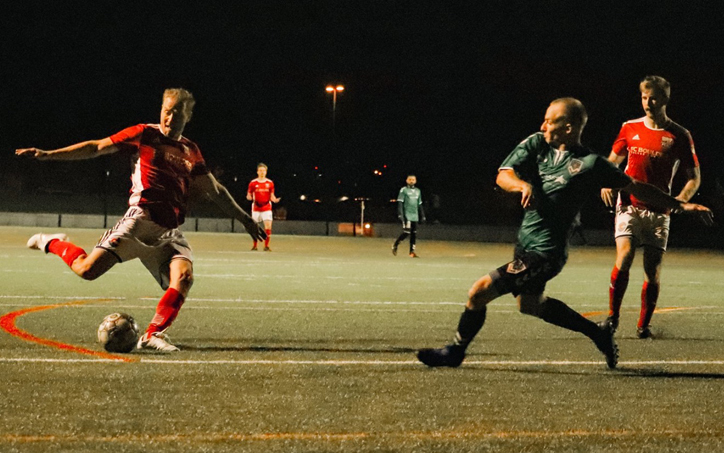 A player from FC Boulder Harpos fires a shot against FC Denver in their 2020 US Open Cup qualifying game. Photo: Colorado Soccer Magazine
