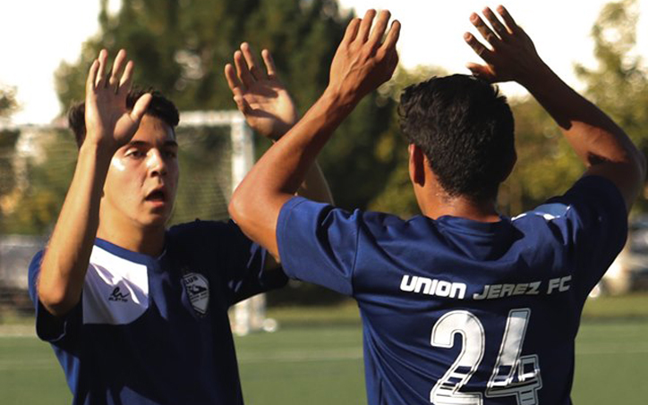Players from FC Union Jerez celebrate during their 2020 US Open Cup qualifying match against Gam United FC. Photo: Colorado Soccer Magazine
