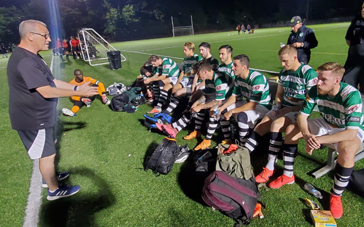 Players from Lansdowne Yonkers FC get some instructions from their head coach before their match against Clifton Elite FC in the 2020 US Open Cup qualifying tournament. Photo: Lansdowne Yonkers FC