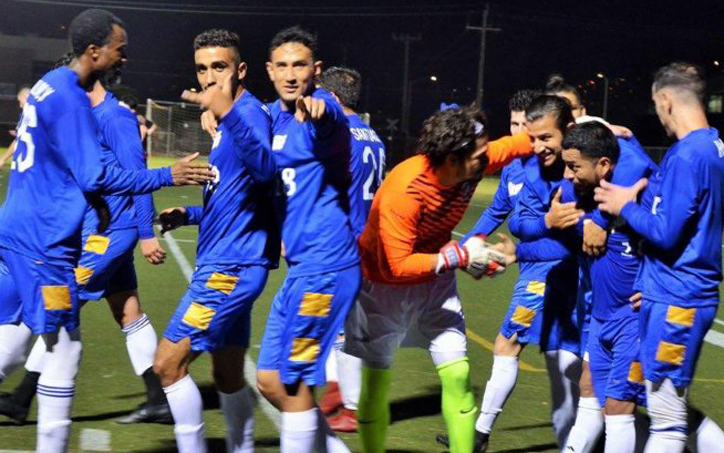 Oakland Stompers celebrate a goal against Contra Costa FC in the 2020 US Open Cup qualifying tournament. Photo: Oakland Stompers
