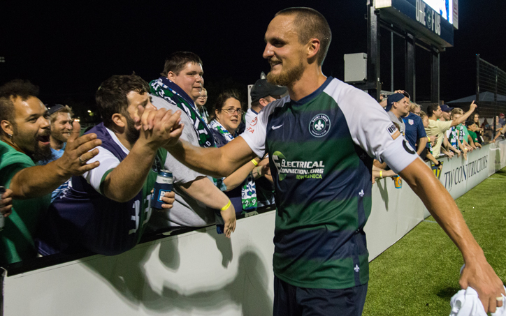 Sam Fink of Saint Louis FC celebrates with the fans after defeating FC Cincinnati 1-0 in the Fifth Round of the 2019 US Open Cup. Photo: Will Bramlett