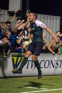 Sam Fink of Saint Louis FC celebrates his game-winning goal against FC Cincinnati in the Fifth Round of the 2019 US Open Cup. Photo: Will Bramlett
