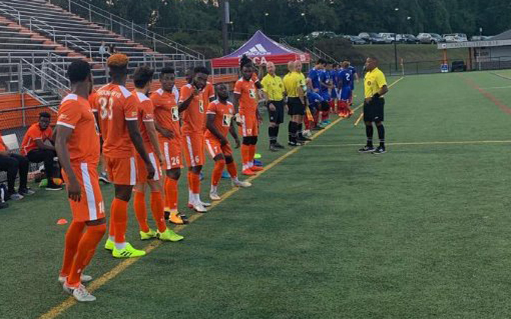 Players from World Class Premier and SOCA line up pre-game for their 2020 US Open Cup qualifier. Photo: World Class Premier