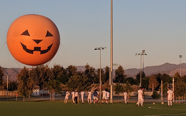 A giant pumpkin balloon overlooks the field at Orange County Great Park in Irvine, Calif. before the 2020 US Open Cup qualifier between Cal FC and Alta California Sol. Photo: Victor Friedman | Cal FC