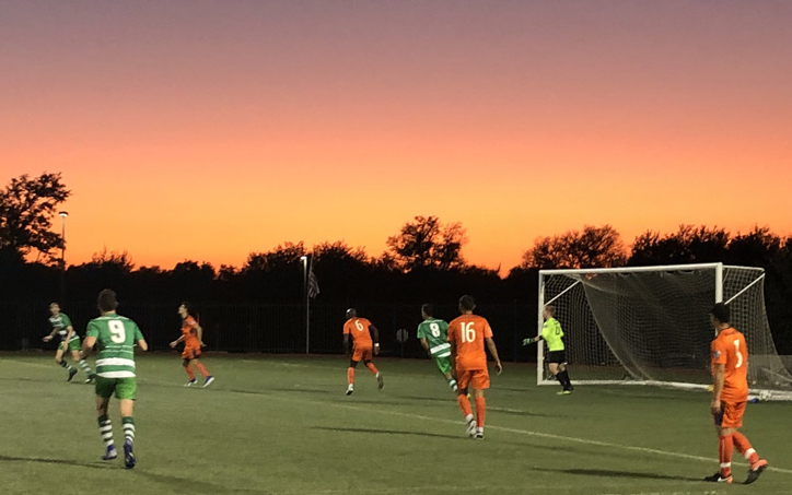 A beautiful sunset was the backdrop for the 2020 US Open Cup qualifier between Celtic Cowboys Premier and the San Antonio Runners. Photo: Celtic Cowboys Premier