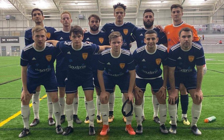 Livonia City FC poses for a team photo before their 2020 US Open Cup qualifier against Ann Arbor FC in Brighton, Mich. Photo: Livonia City FC