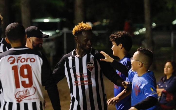 "Mohamed ""James"" Sesay of NTX Rayados celebrates one of his four goals against Inocentes Futbol Club in the 2020 US Open Cup qualifying tournament. Photo: NTX Rayados"