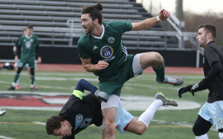 Players from Vereinigung Erzgebirge and West Chester United battle for the ball in a 2020 US Open Cup qualifier. Photo: Matt Ralph | Brotherly Game