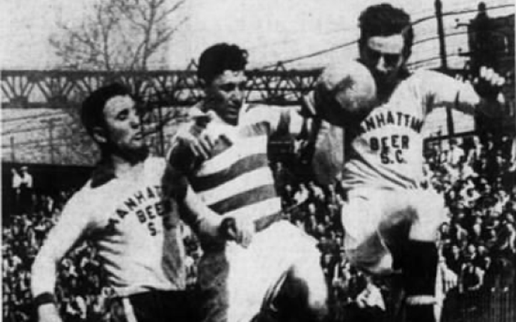 Weck Henney (left) and Davidson (right) of Chicago's Manhattan Beer fight for the ball with St. Mary's Celtic in the second leg of the 1939 National Challenge Cup Final at Starlight Park in the Bronx. Photo: Brooklyn Daily Eagle
